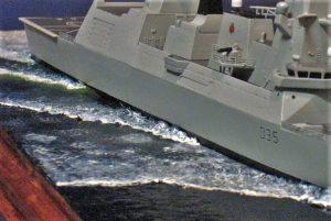 diorama, acrílico, HMS Dragon, modelismo, rui matos, revistademarinha