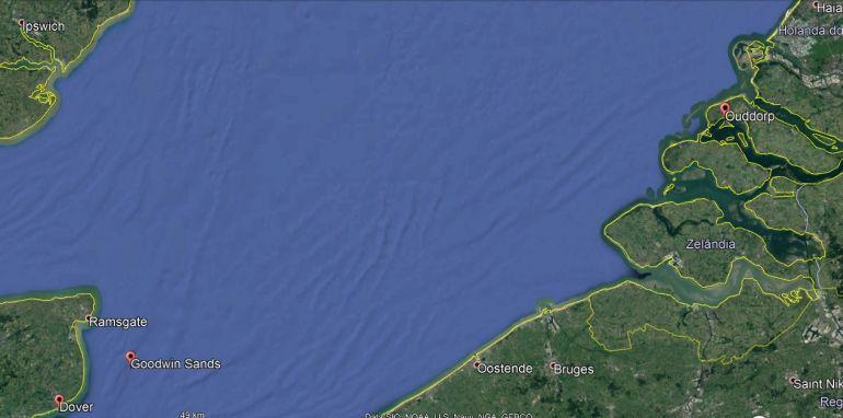 Imagem Google da localização do Goodwin Sands relativamente a Dover e Ouddrop.