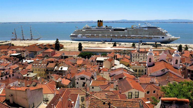 Vista do cais de Santa Apolónia durante a construção do Terminal de Cruzeiros. O porto de Lisboa ocupa o 67º lugar no ranking do Shipping.