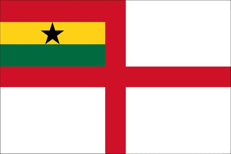 O Pavilhão da Marinha do Gana, com a Cruz de São Jorge, de inspiração Inglesa (Ghana Navy)
