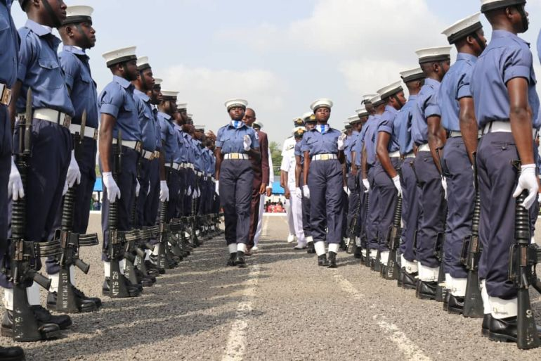 Passing Out parade of recruits graduated after undergoing six months of extensive standard military and basic leadership training, at the Navy Recruits Training School (NRTS), Nuterkpor Sogakope, in the Volta Region (photo Ghana Navy)