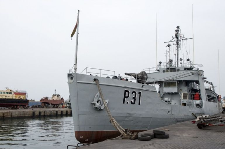 The Ghanaian Navy Balsam-class buoy tender ship GNS Bonsu moors at port in Tema, Ghana. The ship is a former U.S. Coast Guard ship (photo US Navy)