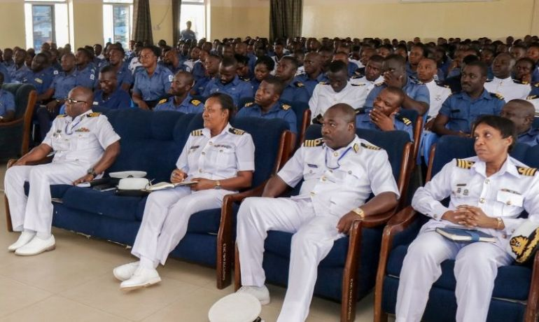 more than twenty captains, commodores, rear admirals, vice admirals, & admirals will discuss illegal oil-bunkering, piracy, unregulated and unreported fishing, smuggling, human and drug trafficking, illegal bunkering and crude oil theft (photo Ghana Navy)