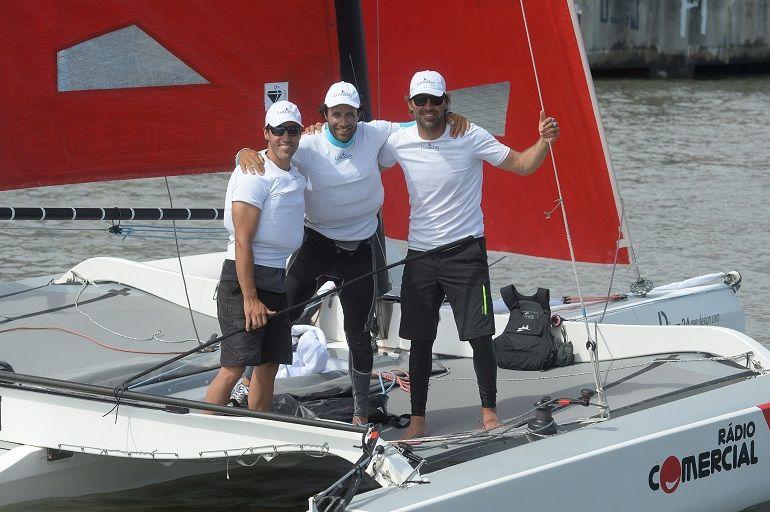 O trio da Rádio Comercial - Jorge Lima, José Costa e Gustavo Lima – terminou com 81 pontos, classificando-se em 4º lugar (foto Ricardo Pinto, Regata de Portugal)