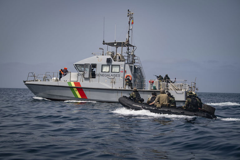Last July 9, members of the U.S. Coast Guard Tactical Law Enforcement Detachment Pacific conduct small boat exercises with the Senegalese navy while the Spearhead-class expeditionary fast transport ship USNS CARSON CITY(T-EPF 7) is on deployment in the Gulf of Guinea in support of its 2019 Africa Partnership Station (US Navy photo by Ford Williams)