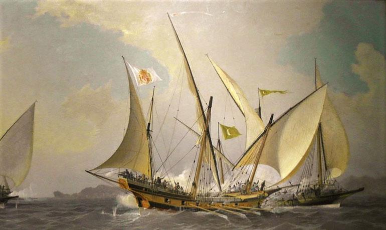 Um Xaveco Espanhol a dar combate a duas galeotas argelinas (óleo sobre tela - 1902 de Ángel Cortellini y Sánchez- Museo Naval de Madrid).