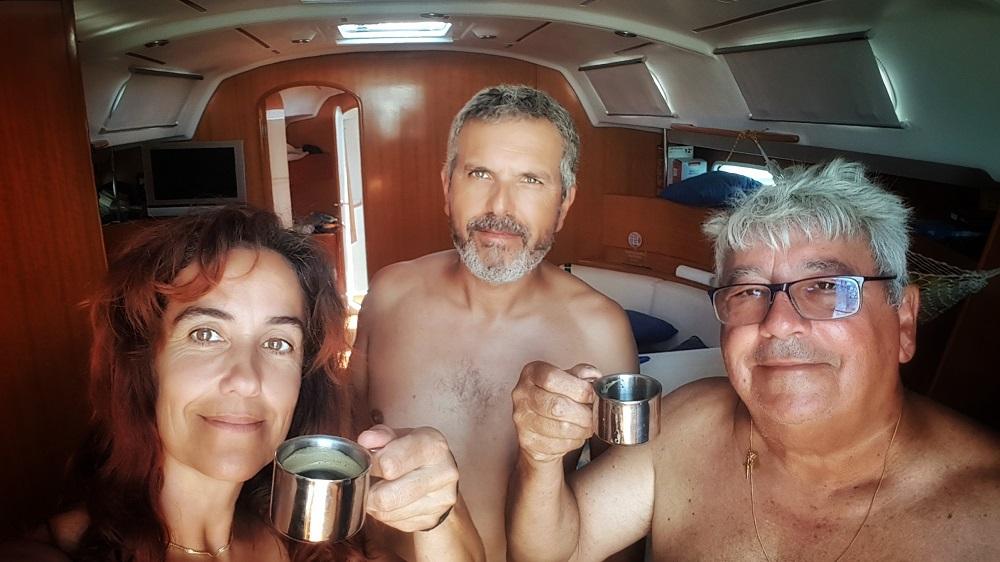 A tripulação: Bárbara Loução, António Silveira e João Leal (foto da autora)