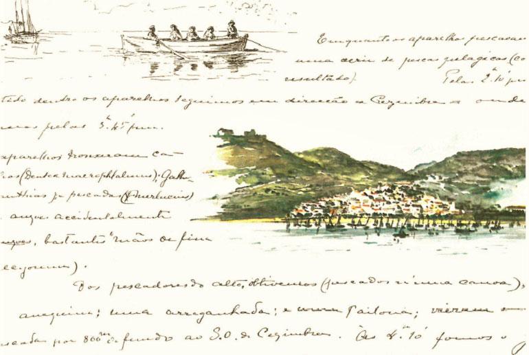 Sesimbra, ou melhor Cezimbra, pintada pelo punho de aguarela do Rei, no Diário de Bordo do Yacht Amélia. (fac-simile da obra)