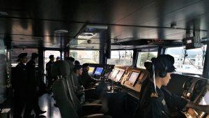 Uma perspetiva do interior da ponte de comando do navio