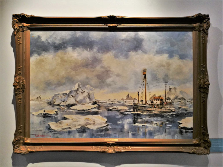 """Working the ice"", óleo sobre tela do pintor de marinha canadiano Robert McVittie (1935-2002)"