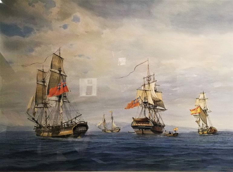 Um quadro representando o encontro do dia 22 de junho de 1792, em Point Grey, entre os navios de George Vancouver e a expedição espanhola de Dionísio Alcalá