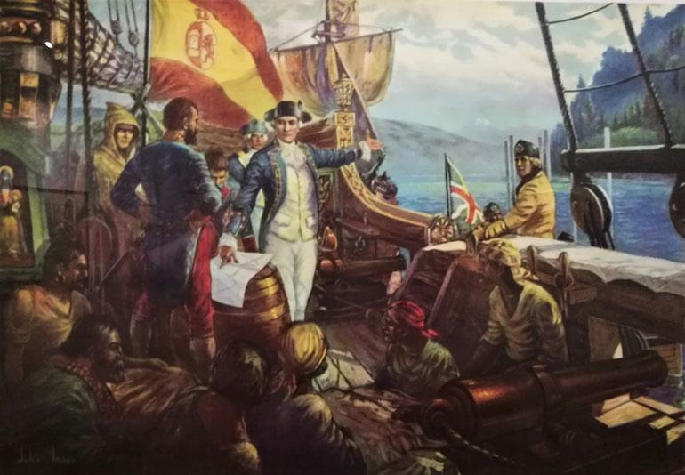 Uma gravura mostrando o momento em que o Captain George Vancouver encontrou Dionísio Alcalá e Caeytano Valdés a bordo a MEXICANA, em Point Grey, 1792.