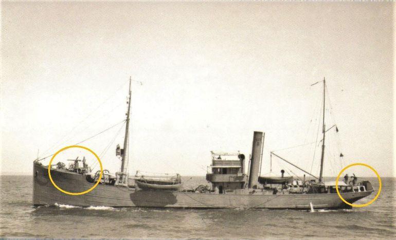 Os dois reparos Hotchkiss QF 3-pounder montados no NRP Augusto Castilho (Foto Museu de Marinha)