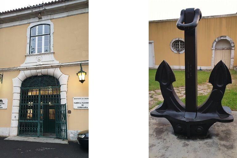 A porta de entrada das instalações da Marinha e um ferro tipo HALL da Metalúrgica Duarte Ferreira, Tramagal, no edifício da antiga Fábrica Nacional de Cordoaria, na Junqueira, em Lisboa (foto do autor)