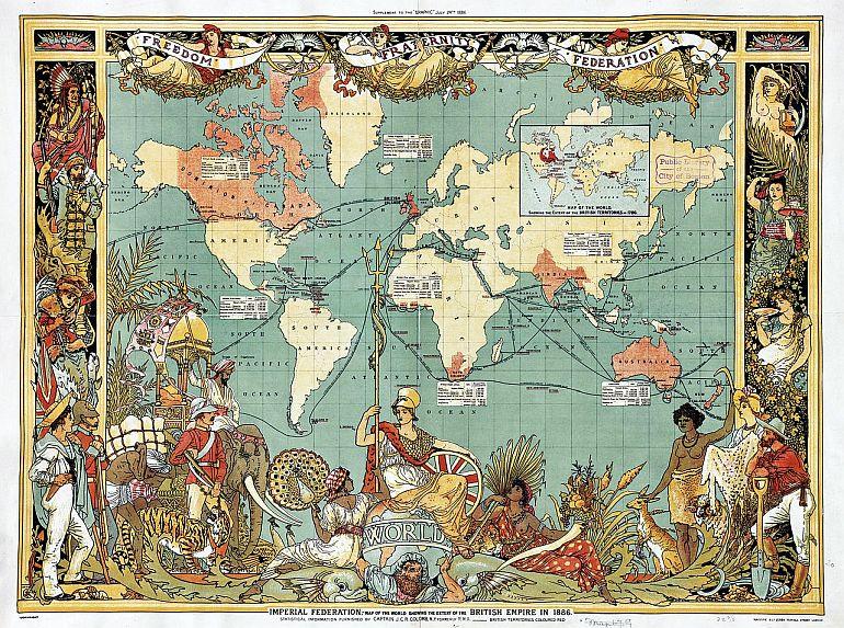 Mapa do Império Britânico, publicado em 24 de julho 1886 como suplemento do semanário ilustrado The Graphic.