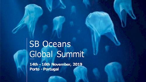 Cartaz muito criativo da conferência, que traduz a grande preocupação com a poluição pelo plástico. (imagem SB19-Oceans)
