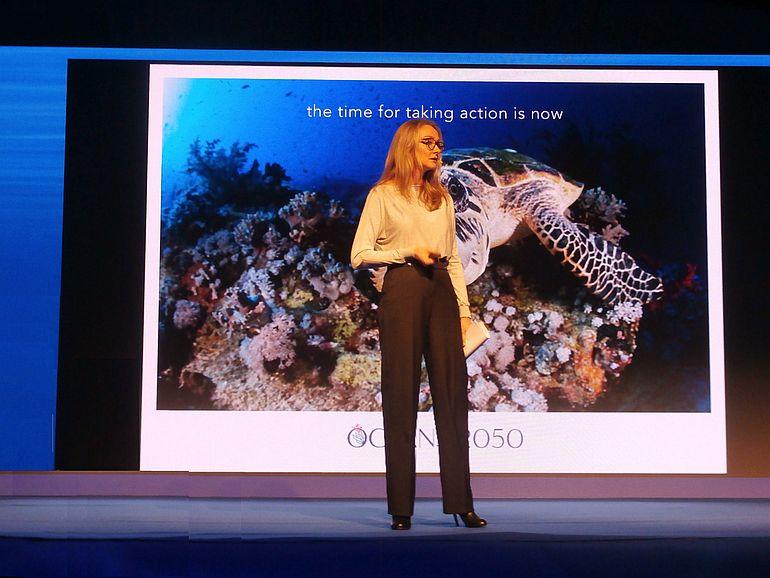 Alexandra Cousteau alertou para a grande preocupação com a redução da fauna marinha (imagem Reinaldo Delgado)