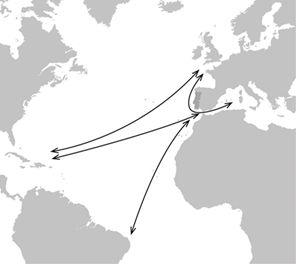 triângulo formado por Málaga, Lisboa e Madeira
