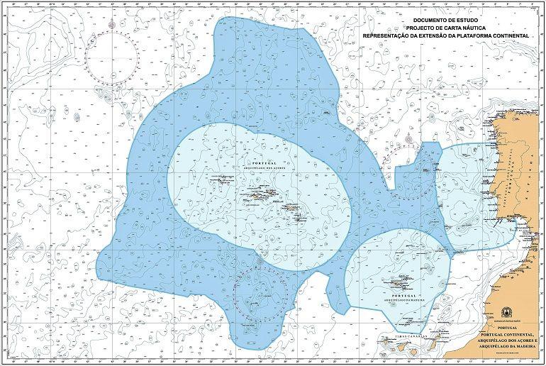 Mapa da proposta de extenção dos limites da área marítima sobe jurisdição nacional