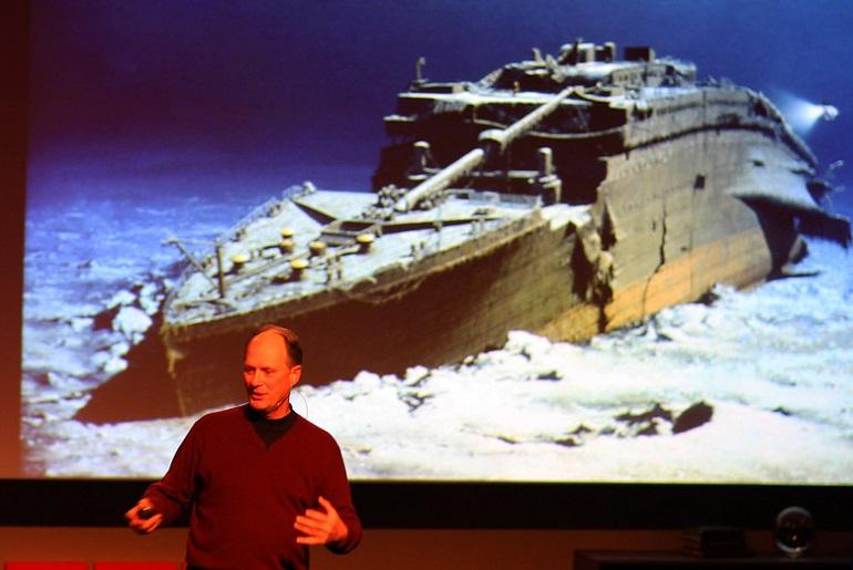 Robert Ballard e o seu TITANIC, durante uma Ted Talk, em fereveiro de 2008 ( imagem Erik Charlton via Flickr