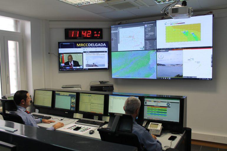 A sala de operações do MRCC DELGADA (imagem Marinha Portuguesa)