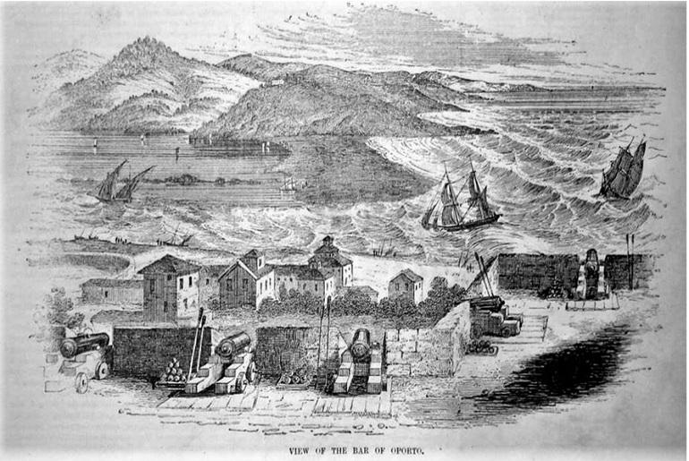 Barra do Douro no Século XIX, (gravura inglesa de autor desconhecido)