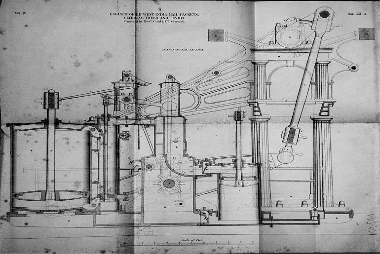 Desenho duma máquina a vapor da Caird&Co Ltd, de 1841
