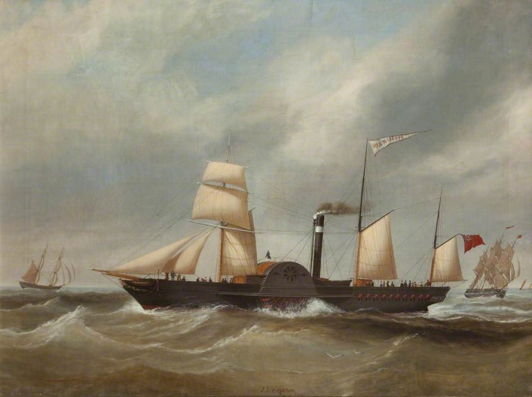 O Paddle Steamer HER MAJESTY, óleo sobre tela de John Livingston, 1846; (Lancashire County Museum Service)