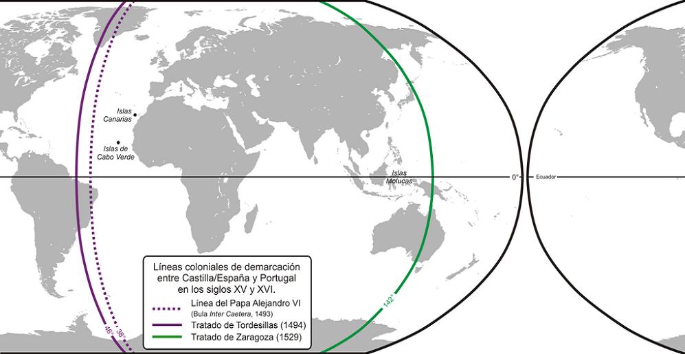 Planisfério mostrando o meridiano do Tratado de Tordesilhas e contra-meridiano do Tratado de Saragoça, sendo visível a localização das ilhas Molucas no lado português.