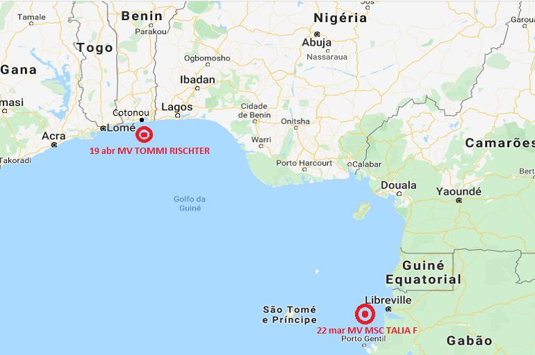 Posição dos ataques aos navios de bandeira portuguesa, ao largo de Libreville e Cotonou (imagem Google maps)