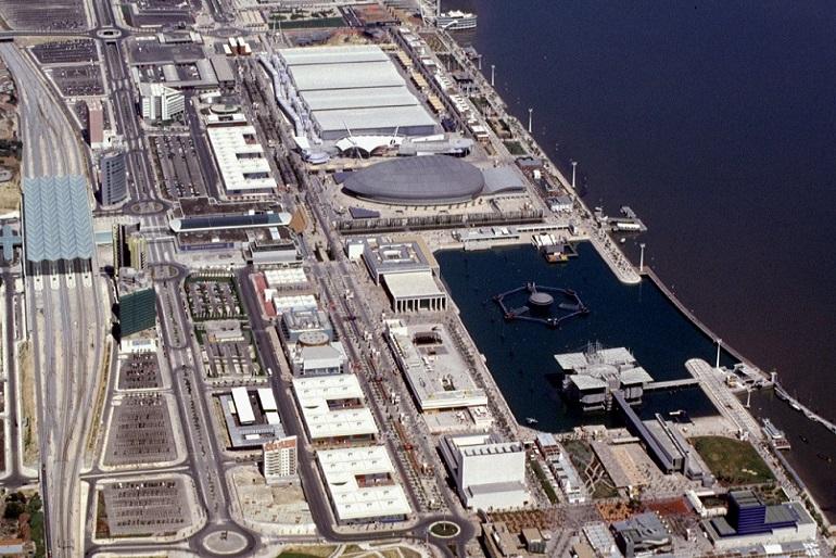 Vista aérea do recinto da grande Exposição Mundial de Lisboa, EXPO 98