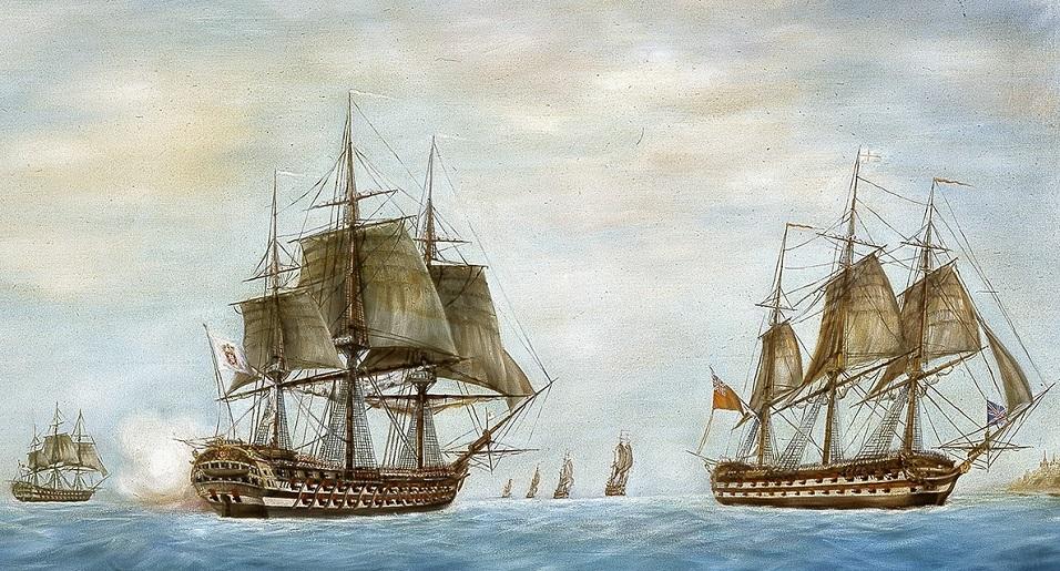 A nau RAINHA DE PORTUGAL, da esquadra do Marquês de Niza, e a esquadra do Almirante Ball encontram-se durante o bloqueio a Malta, outubro de 1798 (pormenor do Óleo de Alberto Cutileiro, Museu de Marinha, Lisboa)