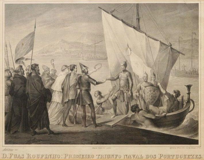 D. Fuas Roupinho, Litografia Sendim do séc. XIX sobre pintura de Joaquim Rafael