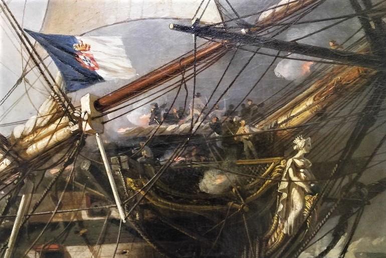 """Pormenor do quadro """"A Batalha do Cabo de S. Vicente"""", de Antoine Léon Morel-Fatio - vendo-se a bandeira azul e branca de D. Maria, içada no estai da fragata RAINHA DE PORTUGAL, de 46 peças (apenas visível aqui o mastro do Gurupés) comandada pelo almirante Napier, encostada à nau RAINHA DE PORTUGAL com duas baterias e 76 peças, cujo convés decorre uma luta resultante da abordagem da primeira à segunda. (imagem João Gonçalves)"""