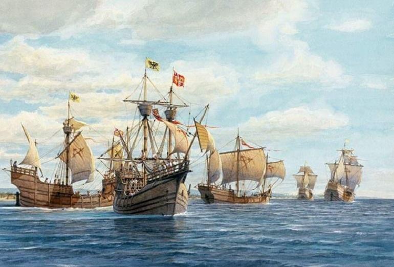 Dibujo de las 5 naves de la expedición posterior al zarpe de España