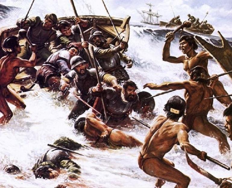 El enfrentamiento donde Magallanes fue herido de muerte (dibujo de Oliver Frey)