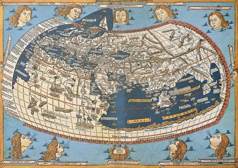 Mapa de Ptolomeo del mundo conocido a finales del Siglo XV