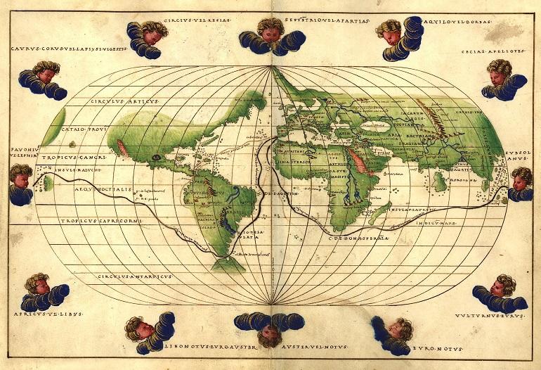 Dibujo antiguo con la ruta emprendida por la expedición de Magallanes, de Battisti Agnese, 1544