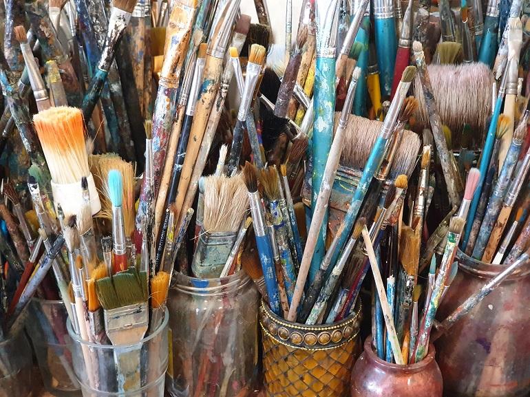 Pincéis no atelier de Fátima Mateus (imagem João Gonçalves)