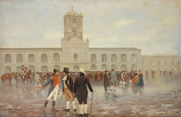 """A revolução de Maio de 1810, em Buenos Aires, deu origem à independência das colónias espanholas da América do Sul. Pintura """"Revolución de Mayo"""", óleo de Francisco Fortuny (1865-1942)"""