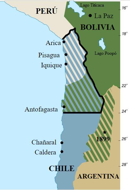 Pormenor do mapa da América do Sul, mostrando as fronteiras do Chile, Bolívia e Peru antes e depois da Guerra do Pacífico