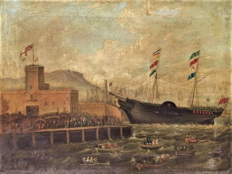Lançamento à água do Vapor em madeira AURORA, quadro de HughFrazer 1839