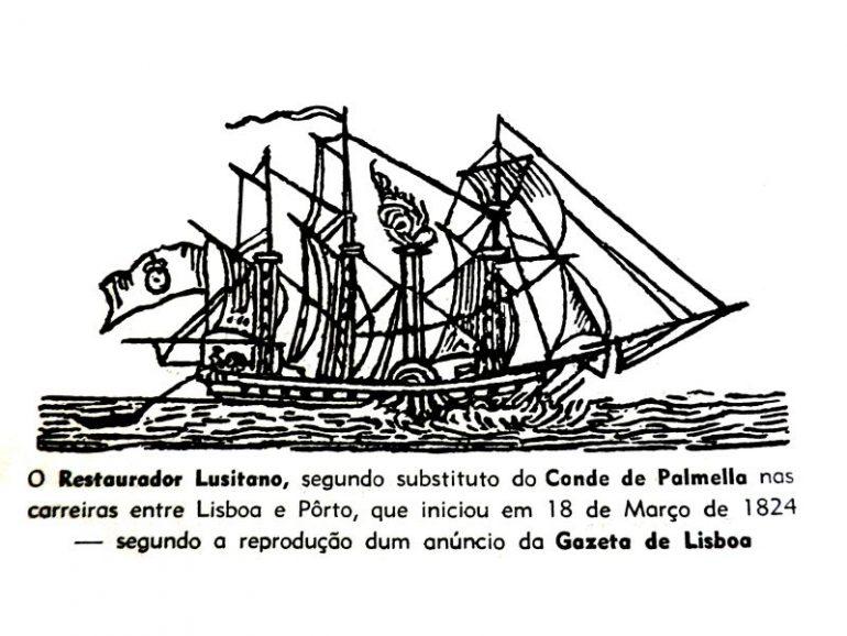 Desenho legendado do vapor RESTAURADOR LUSITANO