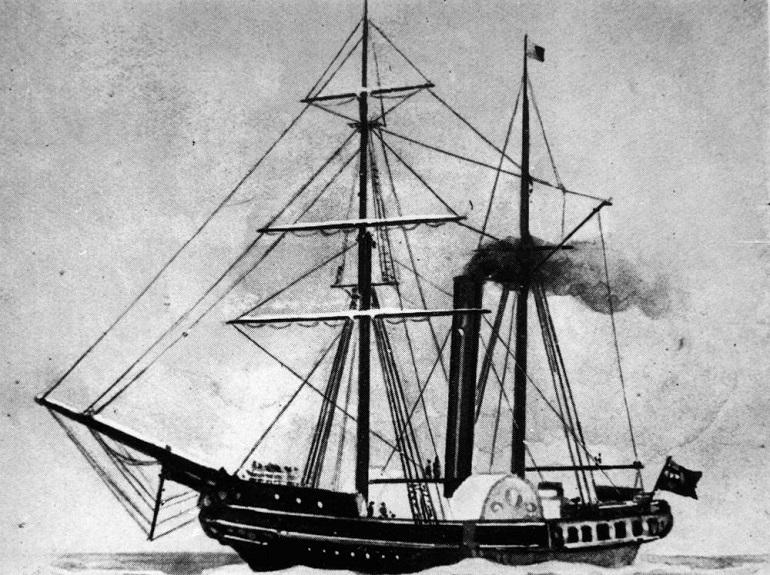 Gravura do vapor inglês WILLIAM FAWCET, idêntico ao CONDE DE PALMELA, wikipedia.org