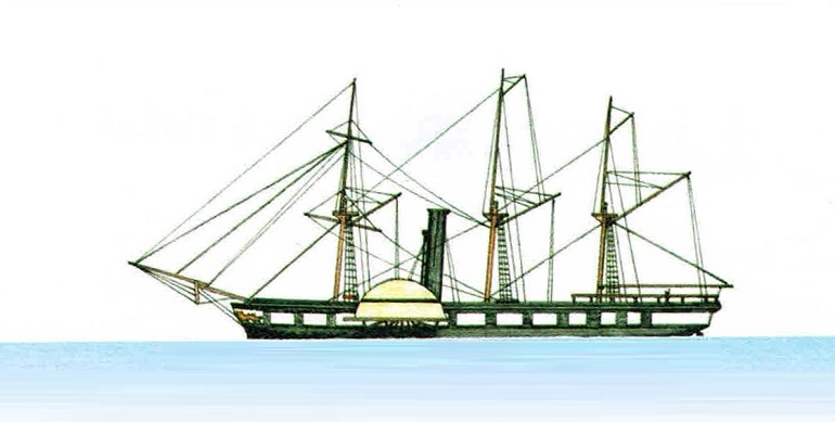 O vapor RESTAURADOR LUSITANO, segundo desenho de Luís Filipe Silva, no livro Navios Portugueses 1822-1930, edições Revista de Marinha, 2003
