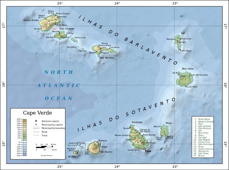Mapa topográfico do arquipelago (imagem Wikimedia)