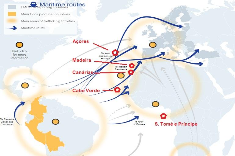 As principais rotas de tráfico de droga no Atlântico e a localização dos arquipélagos. (imagem European Monitoring Centre for Drugs and Drug Addiction - EMCDDA)
