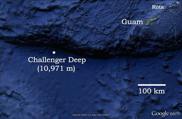 O Challenger deep (imagem NOAA-Google Earth)