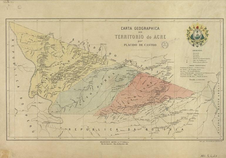 Carta Geográfica do Território do Acre, de 1907 (Biblioteca Nacional do Rio de Janeiro)