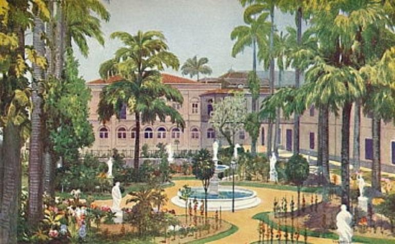 """O jardim interior do Palácio do Itamaraty, na sua configuração à época do Barão, aqui representado numa pintura de 1914, """"Garden of the Itamaraty Palace - Foreign Office"""", por Edgar L. Pattison."""
